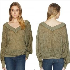 Free People green South Side thermal top